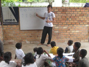 Ravy teaching at Orphanage